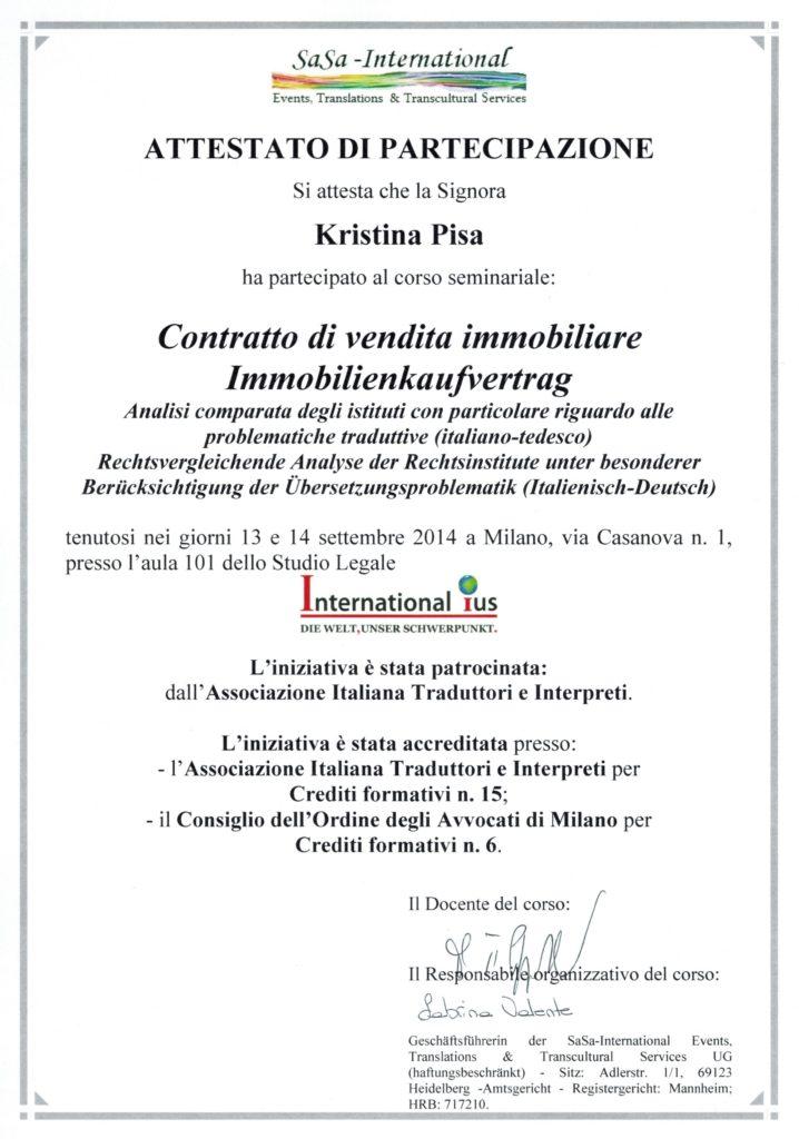 Contratto di vendita immobiliare, Milano 2014