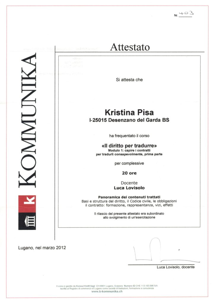 Corso Il diritto per tradurre I i contratti, Lugano marzo 2012