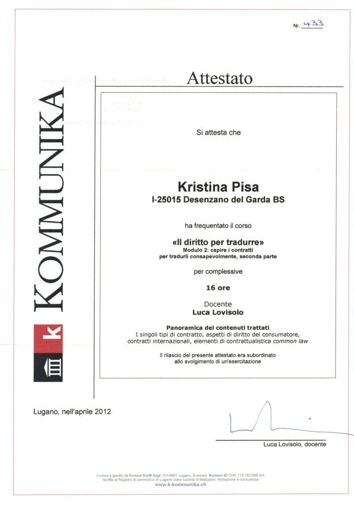 Corso Il diritto per tradurre III i contratti, Lugano aprile 2012