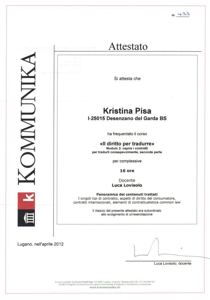 Corso Il diritto per tradurre IV i contratti, Lugano aprile 2012