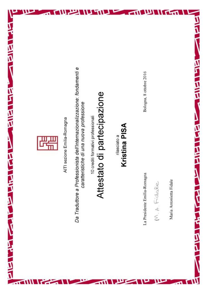 da Traduttore a Professionista dell'Internazionalizzazione: fondamenti e caratteristiche di una nuova professione, Bologna 2016