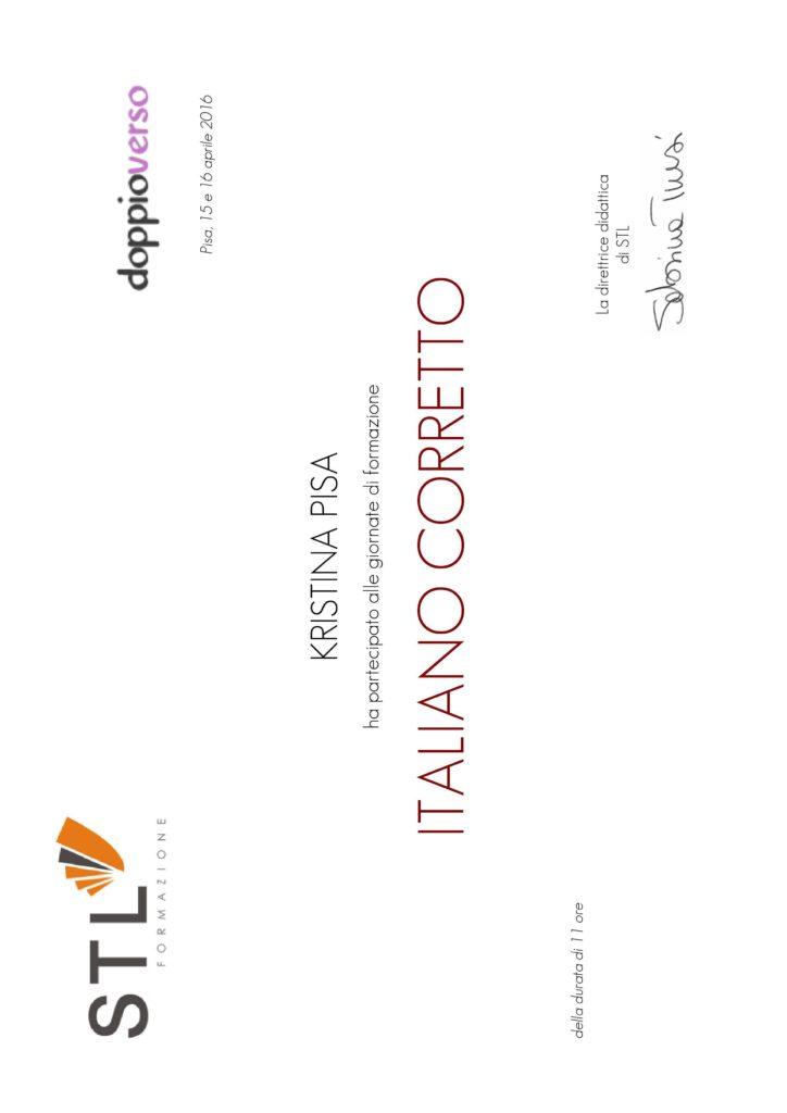 Giornate di formazione ITALIANO CORRETTO, Pisa 2016