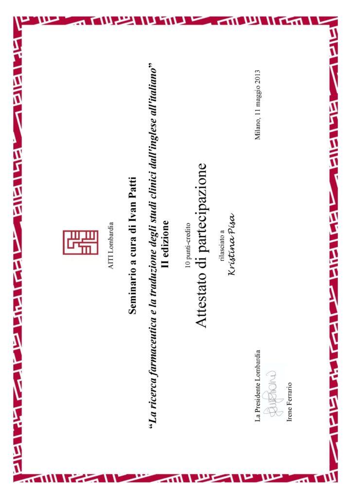 La ricerca farmaceutica e la traduzione degli studi clinici dall'inglese all'italiano