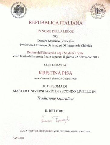Master universitario di secondo livello in Traduzione Giuridica, Trieste 2015