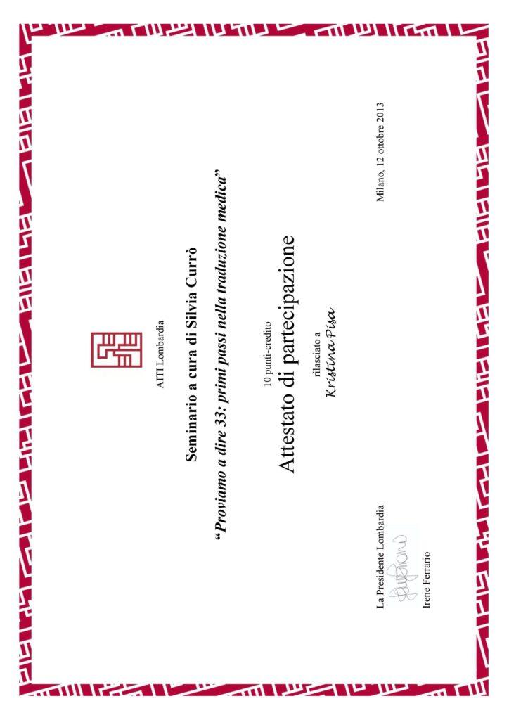 Proviamo a dire 33 primi passi nella traduzione medica, Milano 2013