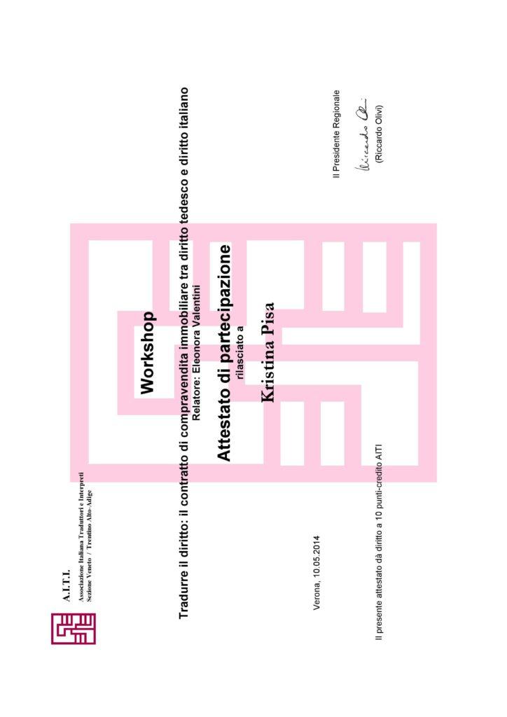 Tradurre il diritto il contratto di compravendita immobiliare tra diritto tedesco e diritto italiano, Verona 2014