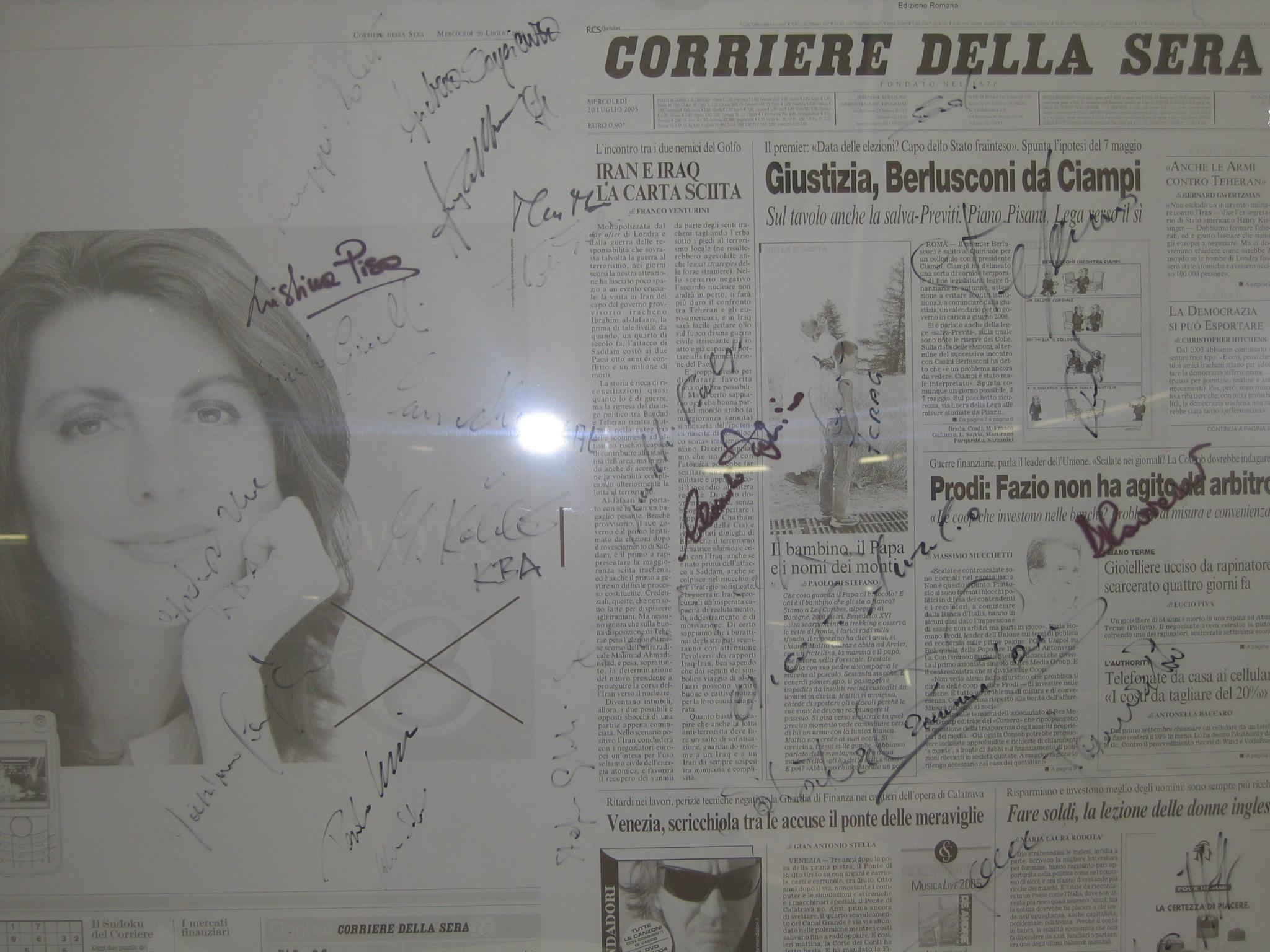 """Sulla lastra della prima pagina del numero """"0"""" del Corriere della Sera c'è anche la mia firma!"""